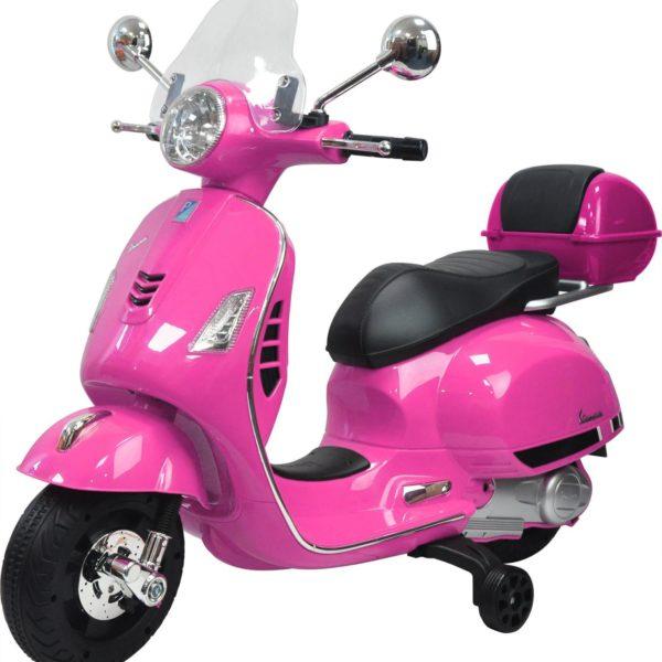Roze elektrische kinderscooter van Vespa voor kinderen tot en met 8 jaar oud